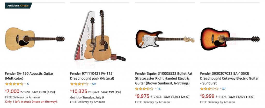 Fender Guitars Amazon India 1024x419 - Top 5 Best Guitar Brands in India - Which is the Best? (2020)