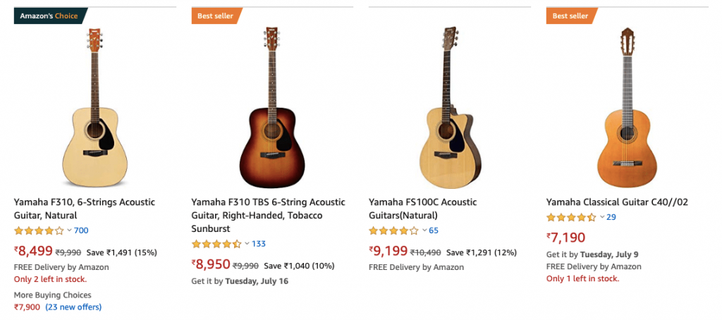 Yamaha Guitar Amazon India 1024x454 - 7 Best Acoustic Guitar in India - Beginners & Experts Price (2020)