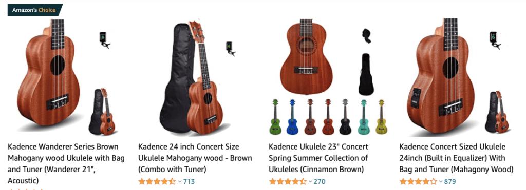 Kadence Guitars on Amazon 1024x371 - Best Ukulele Brands in India (2021)